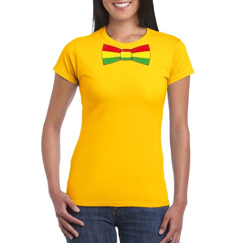 Geel t-shirt met Limburgse vlag strik voor dames