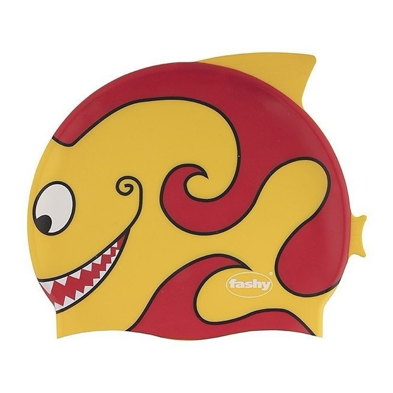 Gele kinder badmuts met vissen