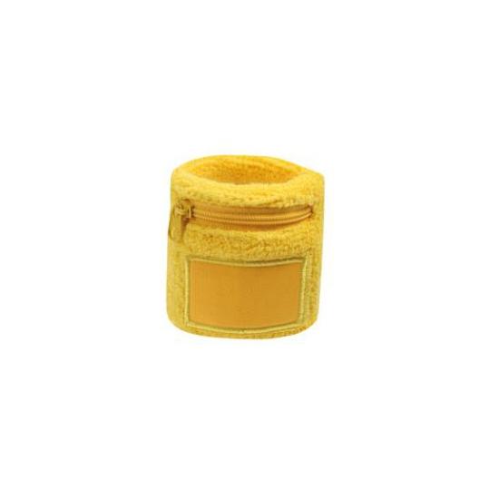 Gele zweetband met ritsje