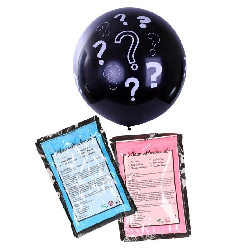 Gender reveal ballon inclusief roze en blauw poeder 90 cm