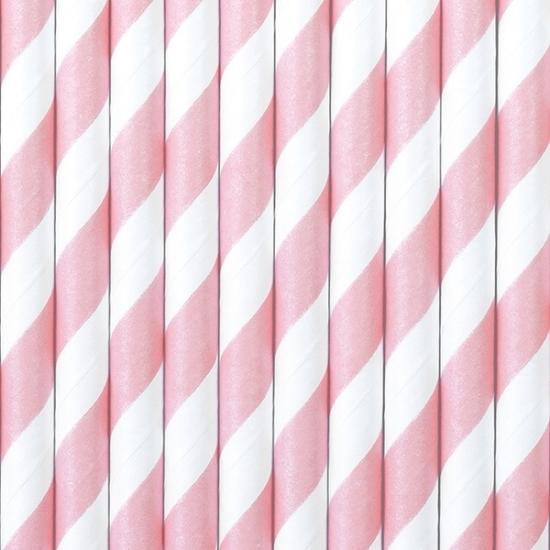 Gestreepte rietjes van papier lichtroze/wit 10 stuks