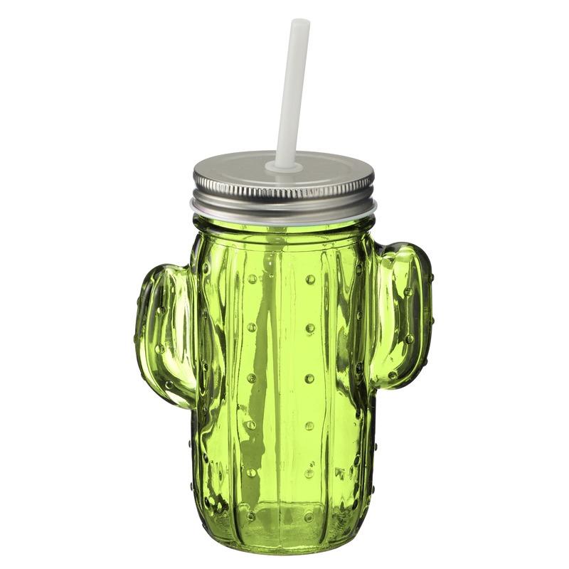 Glazen cactus drinkpotje/drinkglas met deksel 400 ml lichtgroen