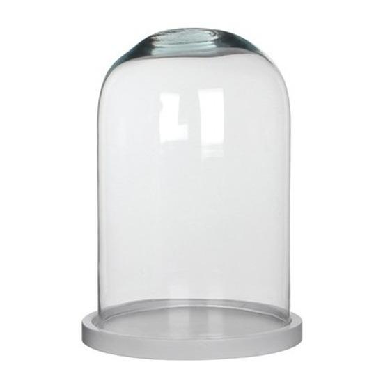 Glazen decoratie stolp Hella op wit houten plateau 21 x 30 cm