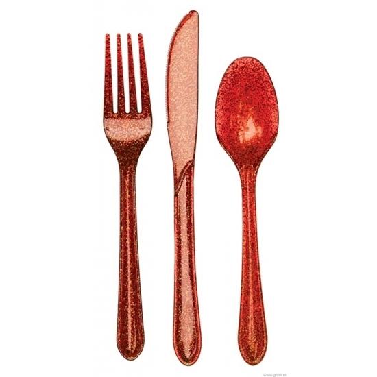 Glitter bestek rood 24-delig