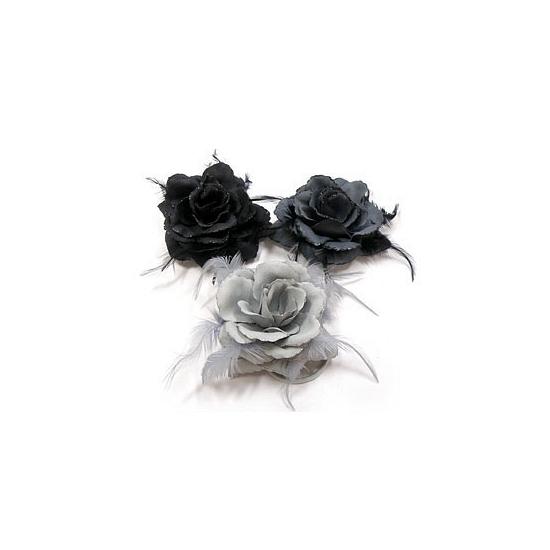 Glitter roos in grijs tinten