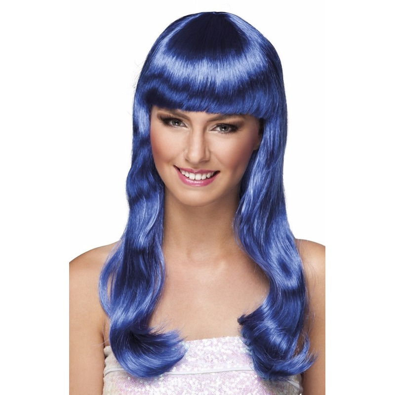 Golvende dames pruik blauw