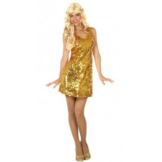 Goud glitterjurkje met pailletten