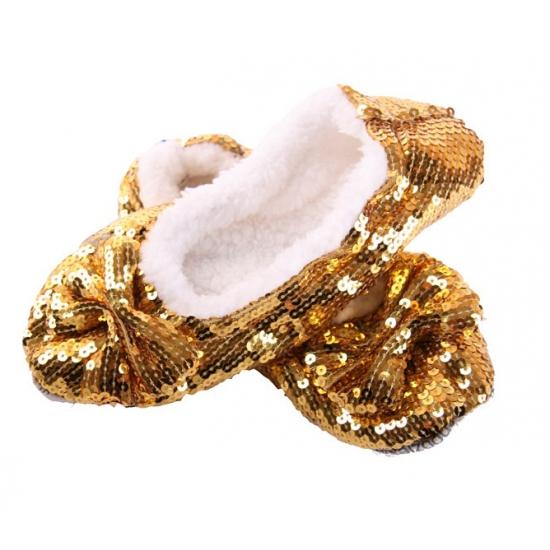 Gouden bling pantoffels voor dames