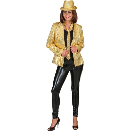 Gouden dames colbert met pailletten