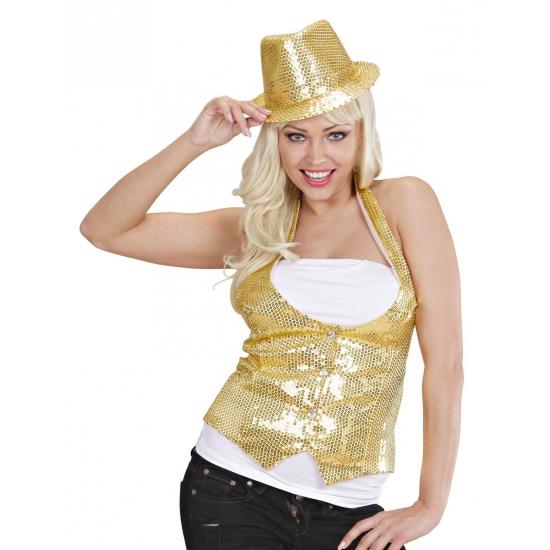 Gouden gilet met pailletten voor dames