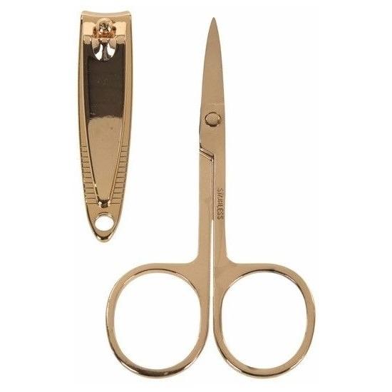 Gouden nagelschaartje en nagelknipper set