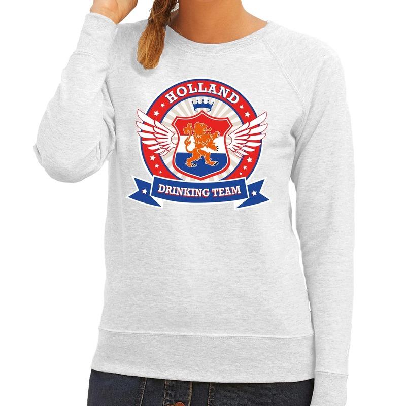 Grijs Holland drinking team sweater dames