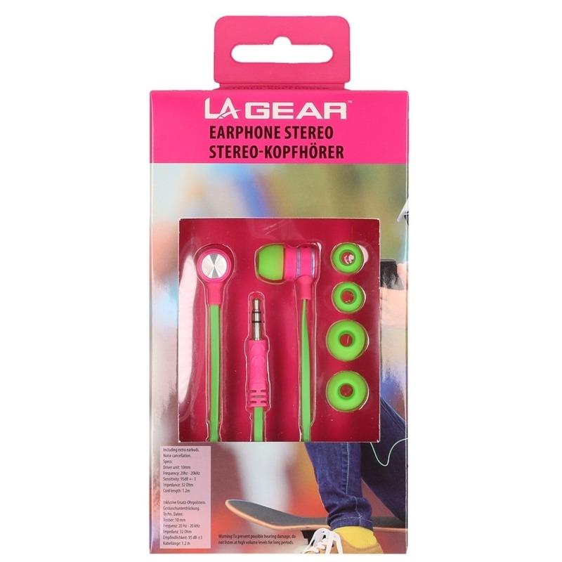 Groen/roze oordopjes/oortelefoon in ear stereo