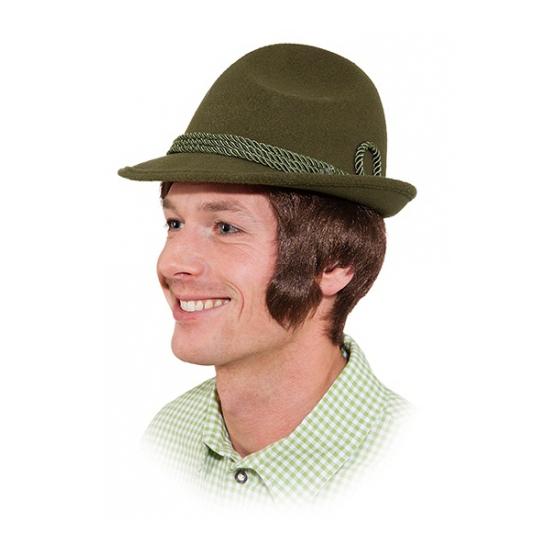 Groen Tiroler hoedje Hans verkleedaccessoire voor volwassenen