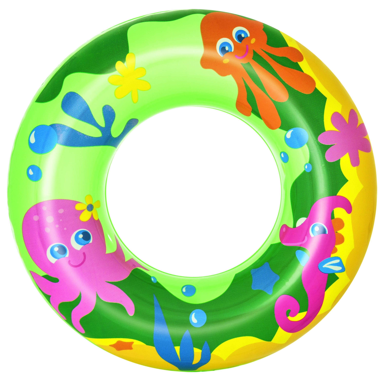 Groene opblaasbare zwemband zeedieren thema 51 cm