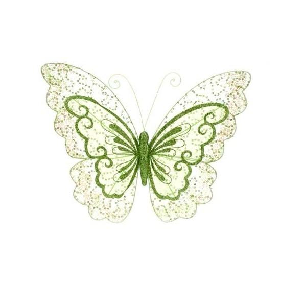 Groene vlinder met glitters op clip 34 cm