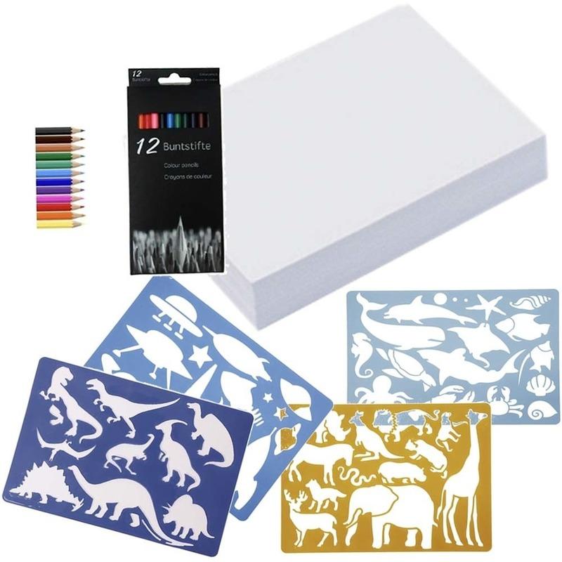 Groot kleurpakket met potloden en sjablonen