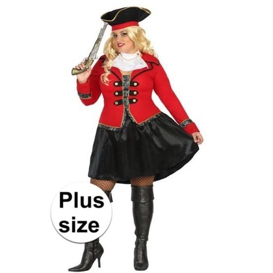 Grote maat kapitein piraat Grace verkleed pak/kostuum voor dames