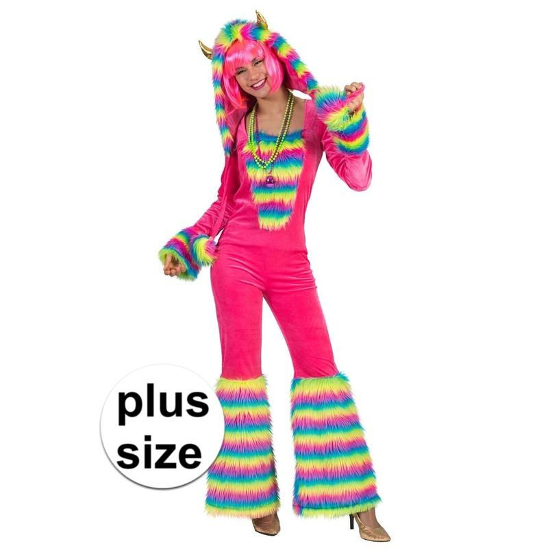 Grote maat roze regenboog monster verkleed pak voor dames