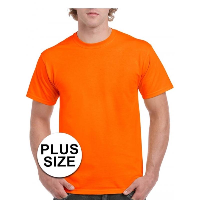 Grote maten fel oranje shirt voor volwassenen