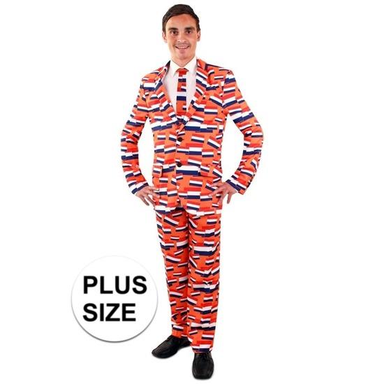 Grote maten luxe heren kostuum oranje vlag Nederland voor heren