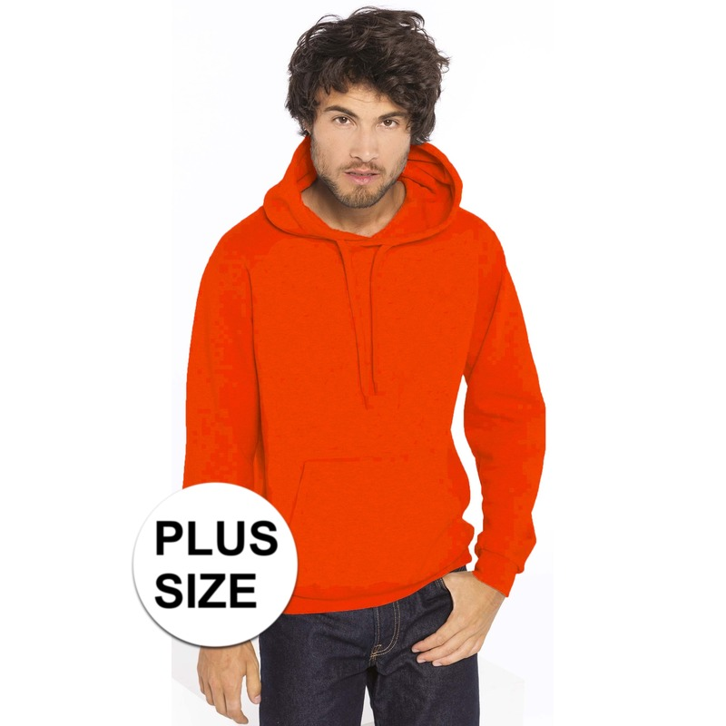 Grote maten oranje sweater/trui hoodie voor heren