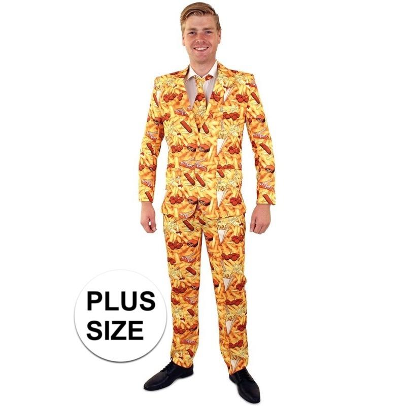 Grote maten snackbar thema print heren kostuum