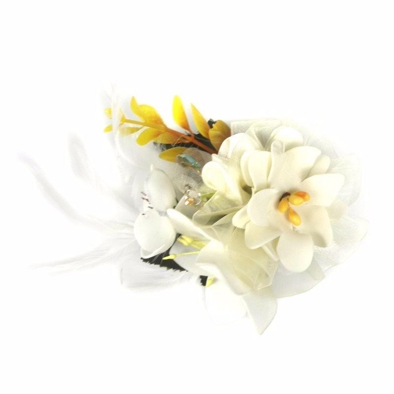 Haarklem met witte bloemen