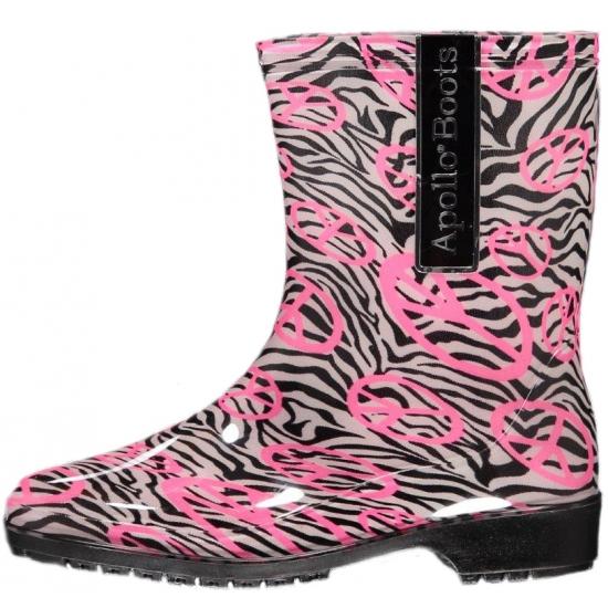 Halfhoge dames regenlaarzen zebra