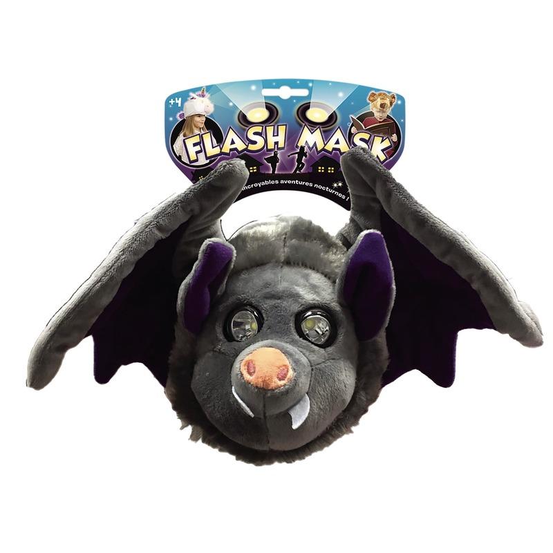 Halloween - Pluche vleermuis muts met leeslamp/lampjes ogen voor kinderen