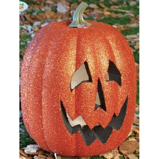 Halloween pompoen met licht 25 cm