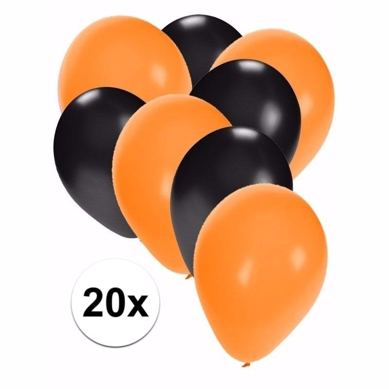 Halloween - Zwart en oranje Halloween ballonnen 20 stuks