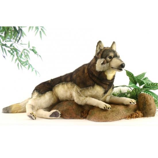 Hansa Pluche Wolf Knuffel Liggend 100 Cm