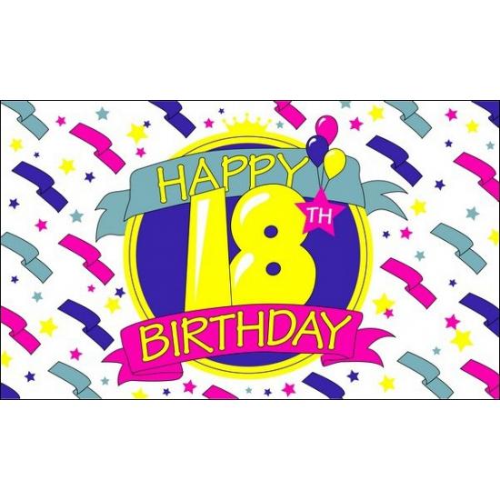 Happy Birthday vlag 18 jaar