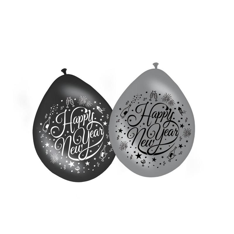 Happy New Year ballonnen zwart/zilver 8 stuks