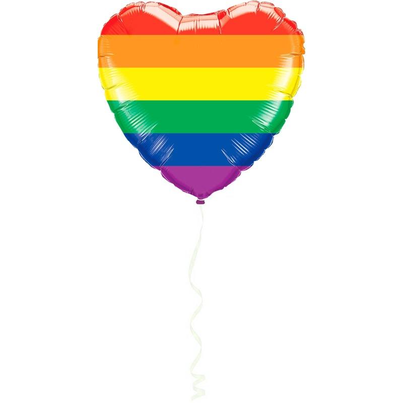 Hart folie ballon regenboog kleuren 45 cm