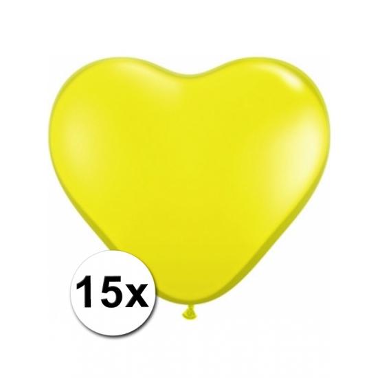 Hartjes ballonnen geel 15 stuks