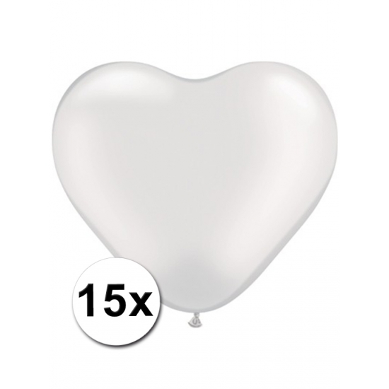Hartjes ballonnen transparant 15 stuks