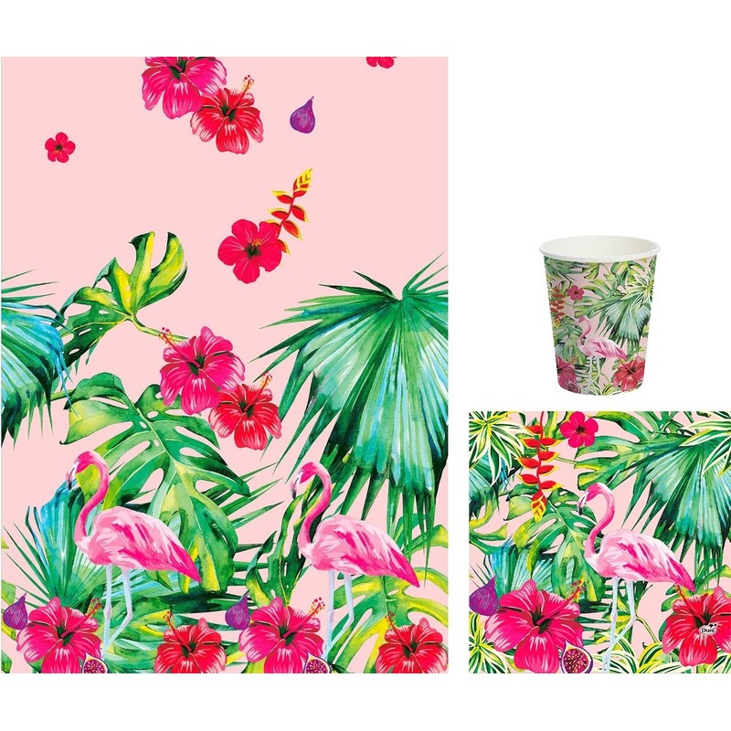 Hawaii thema tafeldecoratie set bekers/servetten/tafelkleed