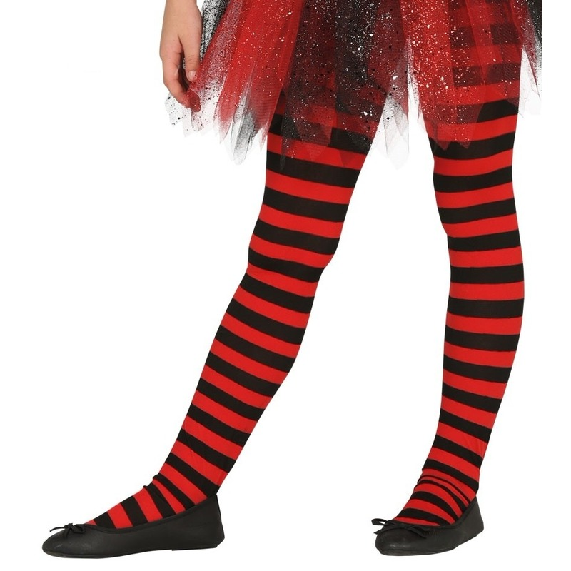 Heksen verkleedaccessoires panty maillot rood/zwart voor meisjes