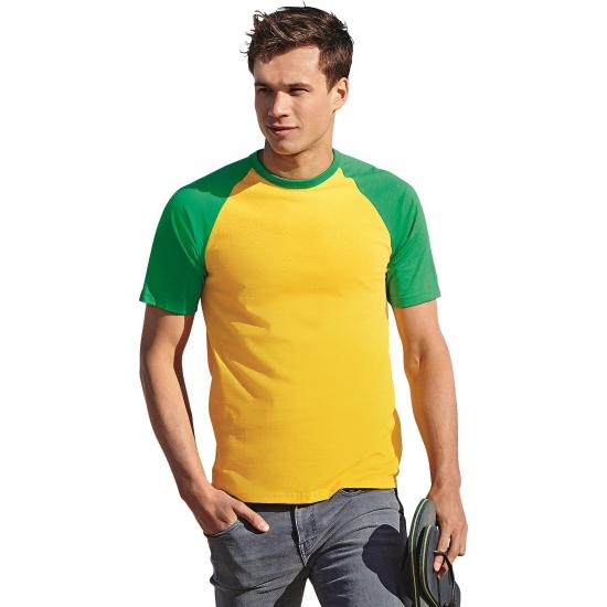 Heren baseball t-shirt geel groen