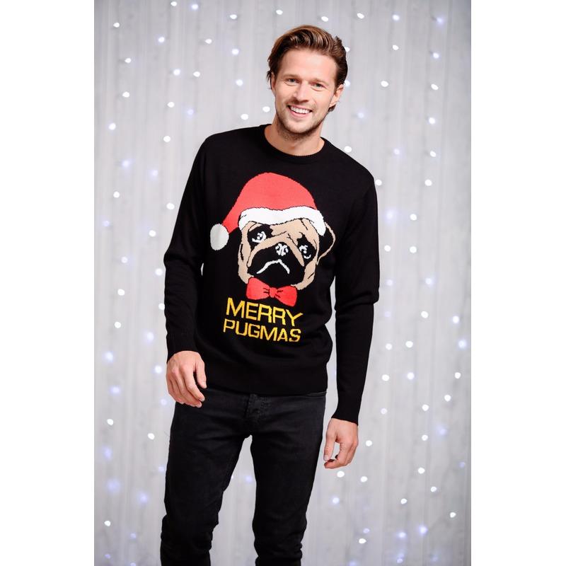 Heren kersttrui zwart met mopshond