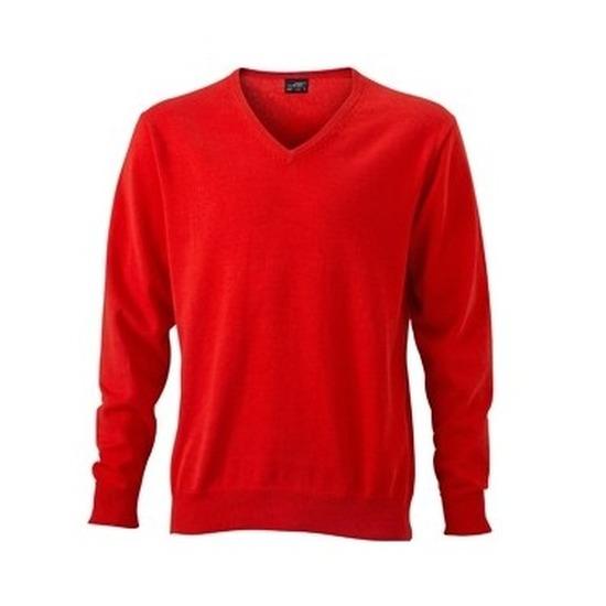 Heren v-hals pullover oranje