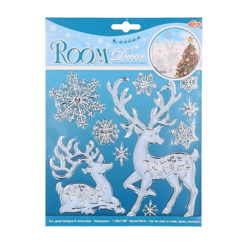Hert met sneeuwvlokken raam stickers