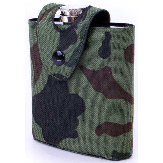 Heupflesje RVS in camouflage hoes/tas 177 ml