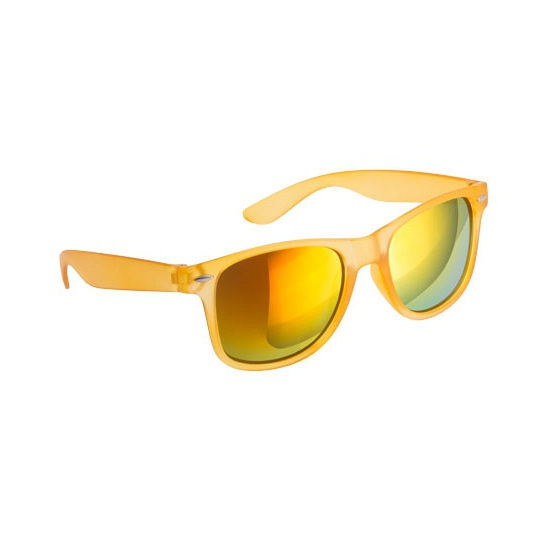 Hippe zonnebril geel met spiegelglazen