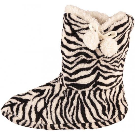 Hoge dames slof sokken met zebra print zwart/wit