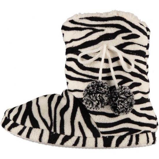 Hoge dames sloffen met zebra print zwart/wit