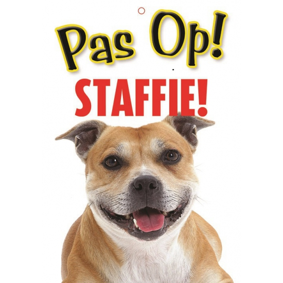 Honden waakbord pas op Staffordshire Bullterrier 21 x 15 cm