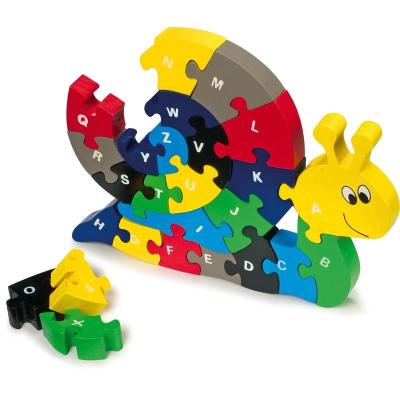 Houten alfabet slakken puzzel 26 stuks